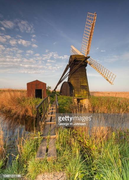 herringfleet windmill - bridge - suffolk england stock photos and pictures