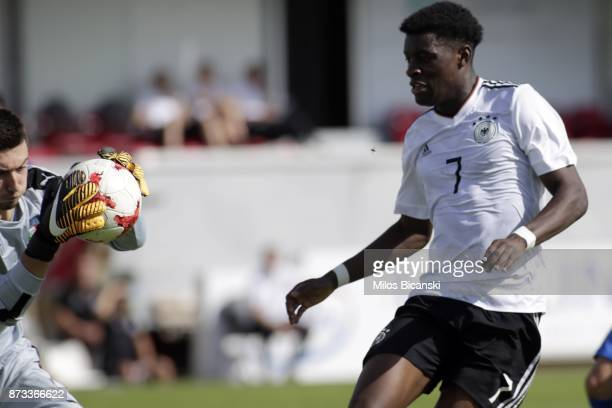 Herrmann CharlesJesaja of Germany in action against Ghidotti Simone of Italy during the Germany vs Italy U18 friendly match at Ammochostos Stadium at...