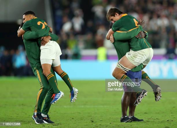 Herschel Jantjies and Eben Etzebeth of South African celebrate winning after the Rugby World Cup 2019 Final between England and South Africa at...