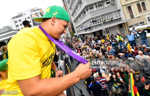 Herschel Jantjies during the South African Springboks Rugby World Cup 2019 Champions Tour on November 11, 2019 in Cape Town, South Africa.