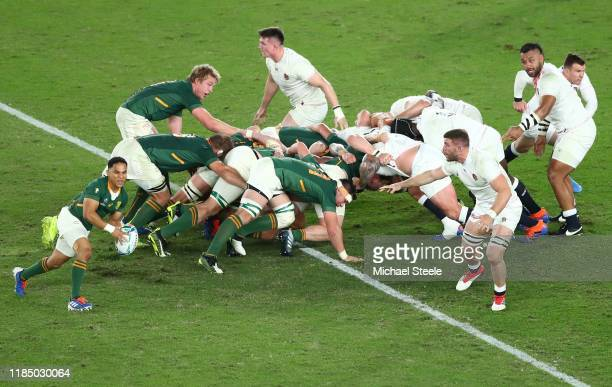 Herschel Jantjies of South Africa looks to pass from the scrum during the Rugby World Cup 2019 Final between England and South Africa at...