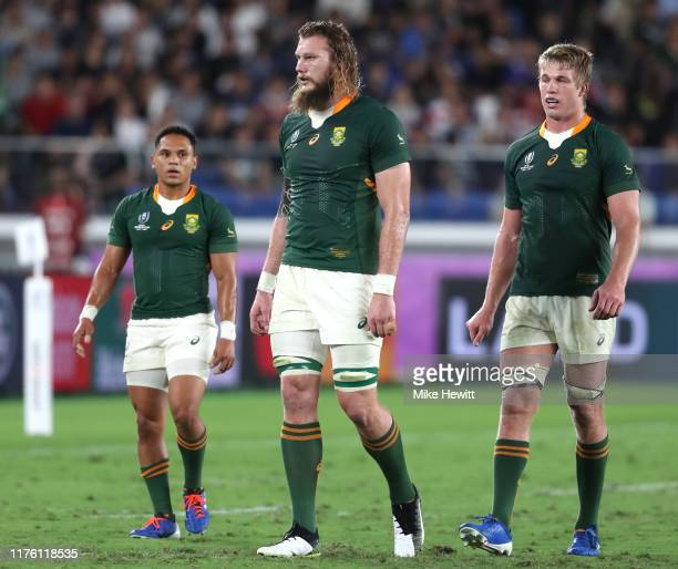 Herschel Jantjies RG Snyman and PieterSteph du Toit of South Africa are seen during the Rugby World Cup 2019 Group B game between New Zealand and...