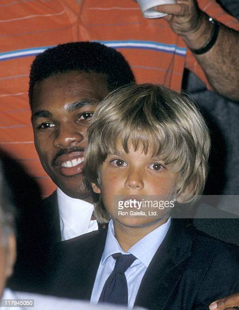 Herschel Walker and Donald Trump Jr during Mike Tyson vs Michael Spinks Fight at Trump Plaza June 27 1988 at Trump Plaza in Atlantic City New Jersey...