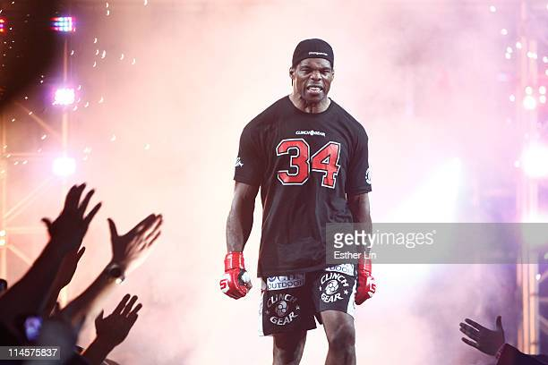 Herschel Walker enters the arena for his bout at the Strikeforce: Diaz vs. Cyborg event at the HP Pavilion on January 29, 2011 in San Jose,...