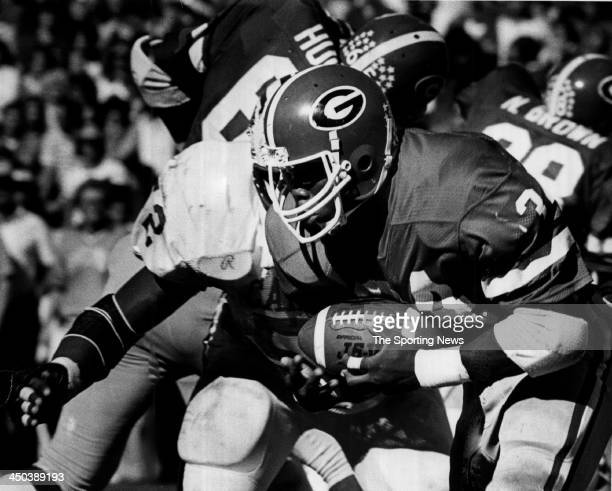 Herschel Walker of the University of Georgia Bulldogs runs the ball against the South Carolina Gamecocks on Circa 1980 in Athens Georgia Walker...