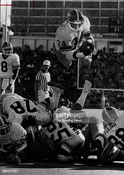 Herschel Walker of the University of Georgia dives into the end zone circa 1980s