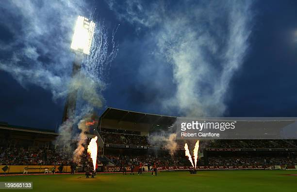 Herschelle Gibbs and Shaun Marsh of the Scorchers walk out to bat during the Big Bash League semifinal match between the Perth Scorchers and the...