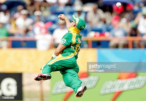 Herschelle Gibbs in the field during the ICC Cricket World Cup 2007 Super Eight match between New Zealand and South Africa at the Grenada National...