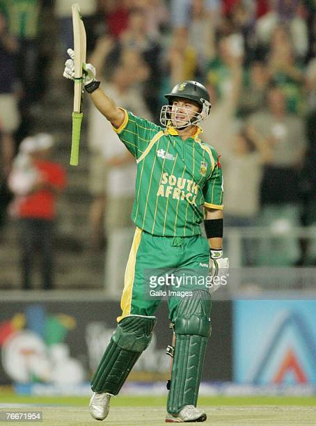 Herschelle Gibbs of South Africa celebrates his teams victory during the ICC Twenty20 Cricket World Cup match between South Africa and the West...