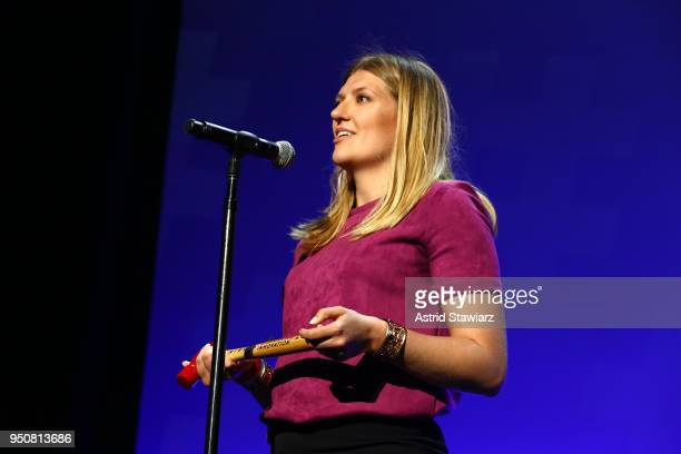 Hersey Prize recipient Executive Director International Campaign to Abolish Nuclear Weapons Beatrice Fihn speaks on stage during Tribeca Disruptive...