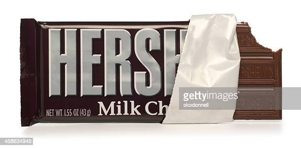 hershey's chocolate bar on white - chocolate bar stock photos and pictures
