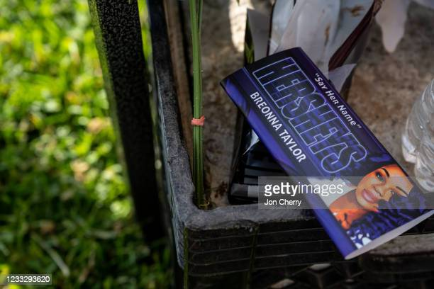 """Hersheys chocolate bar wrapper branded with an image of Breonna Taylor is discarded during the """"Praise in the Park"""" event at the Big Four Lawn on..."""