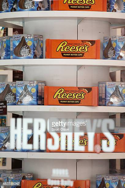 Hershey's chocolate bars are offered for sale at the Hershey's Chocolate World store on July 16 2014 in Chicago Illinois The store located along the...