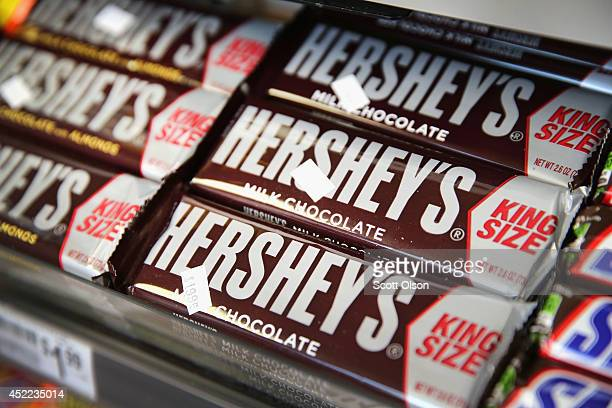 Hershey's chocolate bars are offered for sale on July 16 2014 in Chicago Illinois Hershey Co the No1 candy producer in the US is raising the price of...