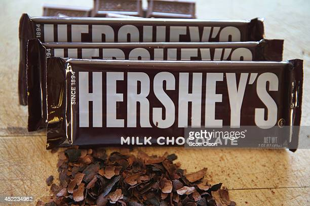 Hershey's chocolate bars are shown on July 16 2014 in Chicago Illinois Hershey Co the No1 candy producer in the US is raising the price of its...