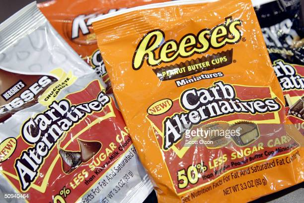 Hershey's displays some of their new lowered carbohydrate candies at the All Candy Expo trade show June 8 2004 in Chicago Illinois According to the...