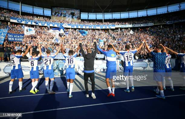 Hertha Berlin players celebrate victory after the Bundesliga match between Hertha BSC and SC Paderborn 07 at Olympiastadion on September 21, 2019 in...