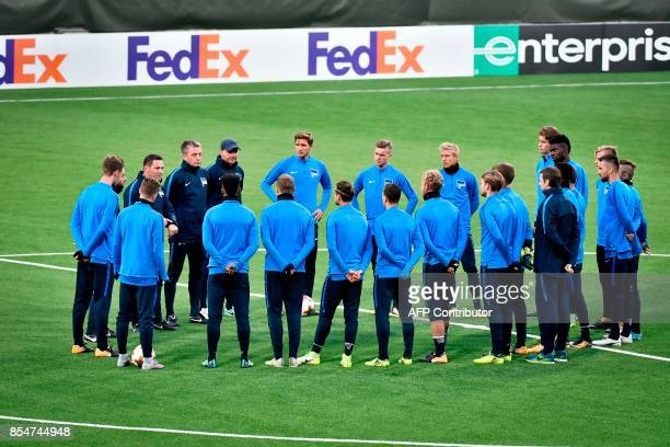 Hertha Berlin players take part in a training session at Jamtkraft Arena in Ostersund, Sweden, on September 27 on the eve of the team's UEFA Europa...