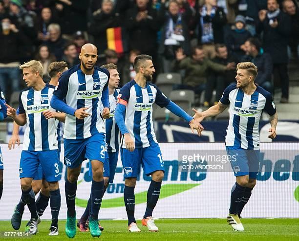 Hertha Berlin's Bosnian forward Vedad Ibisevic celebrates scoring the opening goal during the German first division Bundesliga football match between...