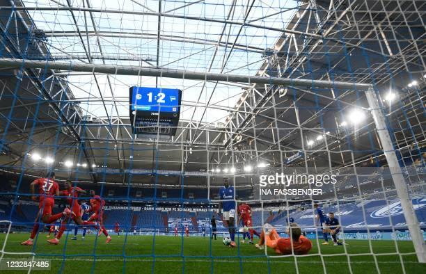 Hertha Berlin's German forward Jessic Ngankam celebrates scoring the 1-2 during the German first division Bundesliga football match FC Schalke 04 v...