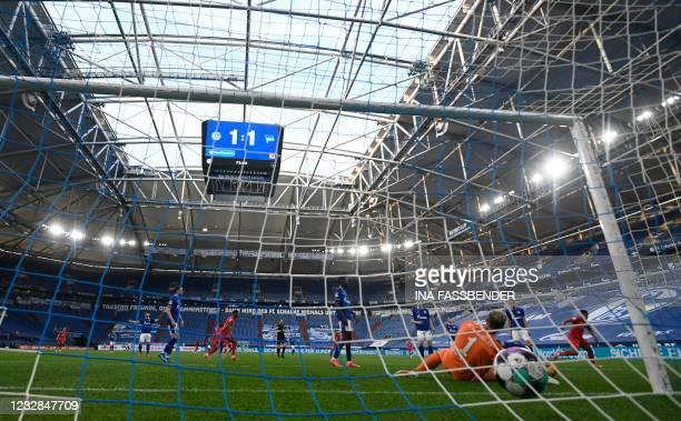 Hertha Berlin's German forward Jessic Ngankam scores the 1-2 during the German first division Bundesliga football match FC Schalke 04 v Hertha Berlin...