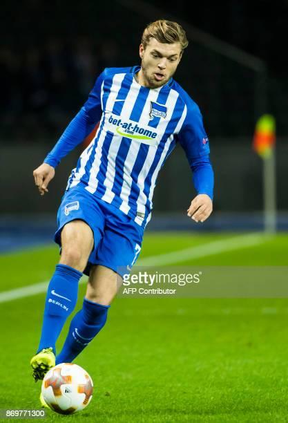 Hertha Berlin's midfielder Alexander Esswein controls the ball during the UEFA Europa League group J football match between Hertha BSC Berlin and FC...