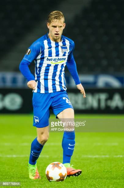Hertha Berlin's midfielder Arne Maier runs with the ball during the UEFA Europa League group J football match between Hertha BSC Berlin and FC Zorya...