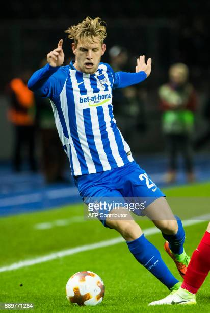 Hertha Berlin´s midfielder Arne Maier vie for the ball during the UEFA Europa League group J football match between Hertha BSC Berlin and FC Zorya...