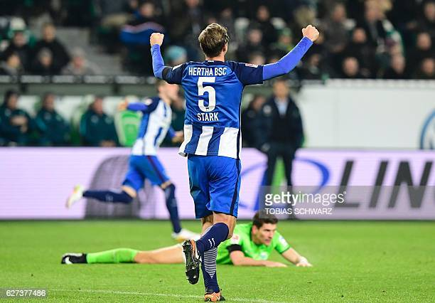 Hertha Berlin's midfielder Niklas Stark celebrates during the German first division Bundesliga football match between VfL Wolfsburg and Hertha Berlin...