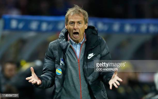 Hertha Berlin's new German head coach Jurgen Klinsmann reacts during the German first division Bundesliga football match Hertha Berlin v Borussia...