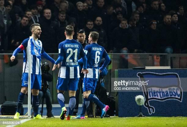 Hertha Berlin'ss Bosnian forward Vedad Ibisevic celebrates scoring the opening goal during the German first division Bundesliga football match...