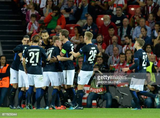 Hertha BSC Berlin players celebrate the opening goal during the Europa League football match Athletic Club Bilbao vs Hertha BSC Berlin at the San...