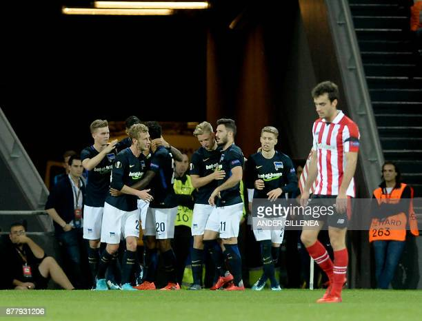 Hertha BSC Berlin players celebrate their second goal during the Europa League football match Athletic Club Bilbao vs Hertha BSC Berlin at the San...