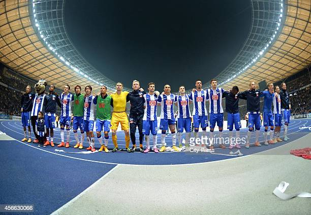 Hertha BSC celebrate the home victory with fans during the Bundesliga match between Hertha BSC and VfB Stuttgart on October 3 2014 in Berlin Germany