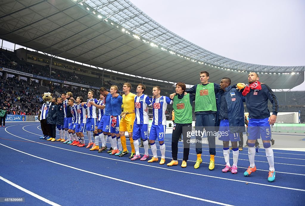 Hertha BSC celebrate with the fans during the game between Hertha BSC and Hamburger SV on October 25, 2014 in Berlin, Germany.