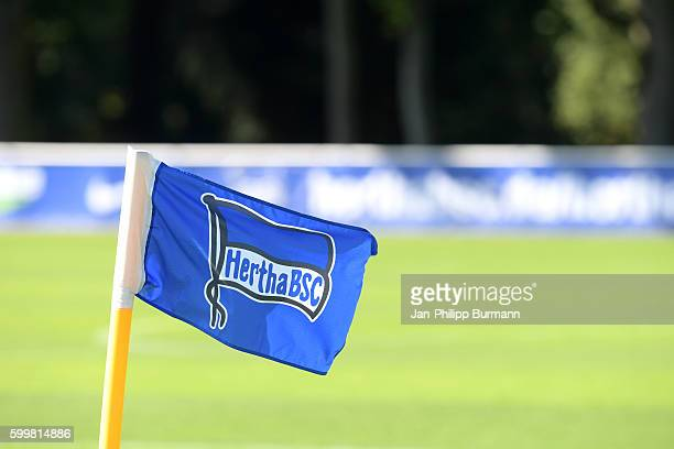 Hertha BSC corner flag during the training on september 7 2016 in Berlin Germany