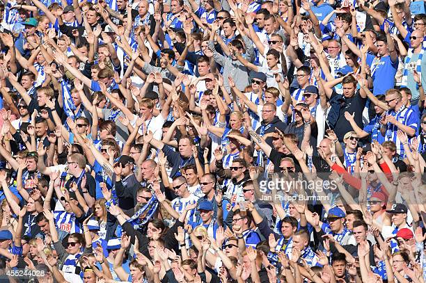 Hertha BSC Fans celebrate during the Bundesliga match between Hertha BSC and Werder Bremen on august 23, 2014 in Berlin, Germany.