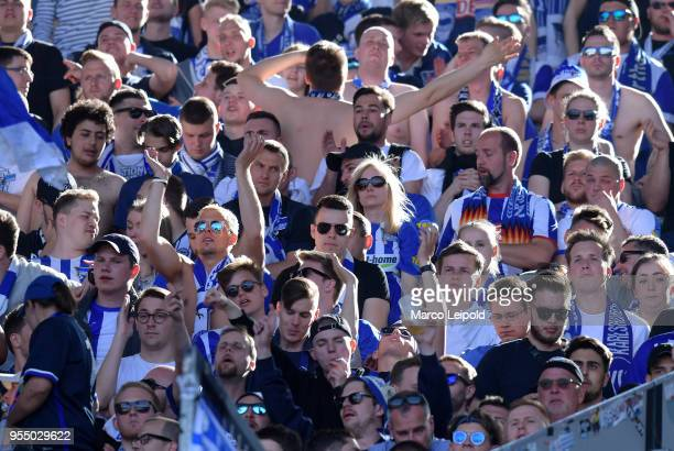 Hertha BSC fans during the Bundesliga game between Hannover 96 and Hertha BSC at HDI Arena on May 5 2018 in Hannover Germany