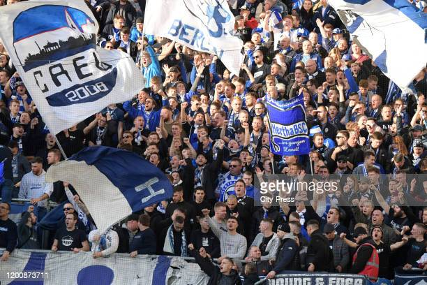 Hertha BSC fans during the game between the SC Paderborn 07 against Hertha BSC on february 15 2020 in Paderborn Germany
