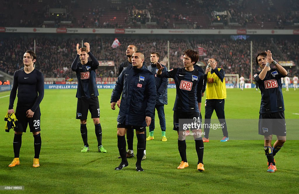 Hertha BSC players acknowledge the fans after the Bundesliga match between 1. FC Koeln and Hertha BSC at RheinEnergieStadion on November 22, 2014 in Cologne, Germany.