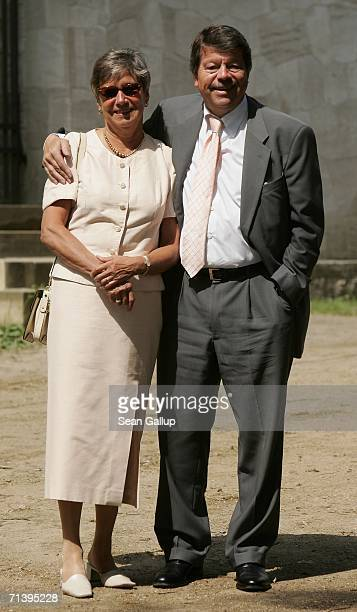 Hertha BSC soccer club President Bernd Schiphorst and his wife attend the wedding of German TV host Guenther Jauch at the Belvedere Palace on July 7...