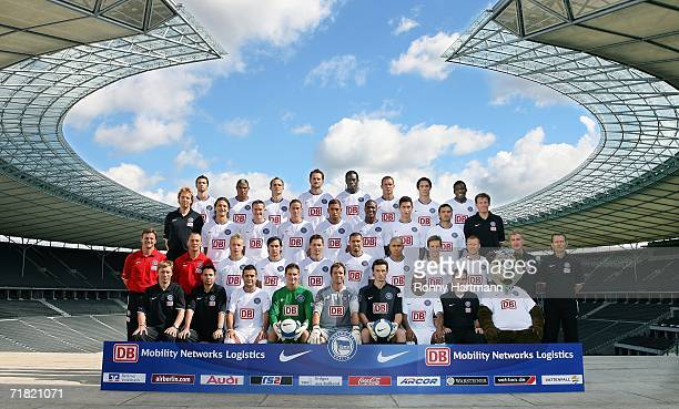 Hertha BSC squad pose for a team photo Joerg Bluethmann David de Mel Yildiray Bastuerk Nico Pellatz Christian Fiedler Kevin Stuhr Elleggrad Ellery...