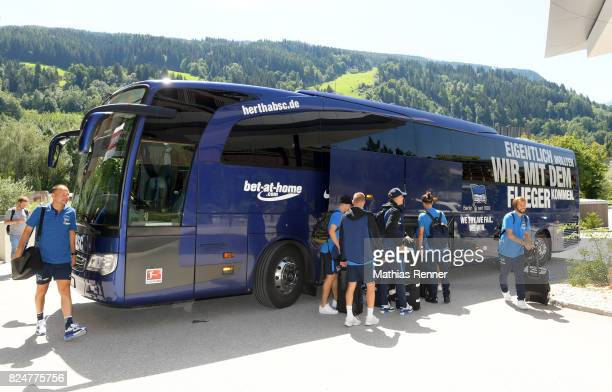 Hertha BSC team bus during a training camp on July 31 2017 in Schladming Austria
