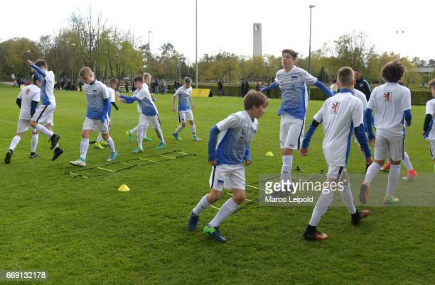 Hertha BSC U14 training during the Nike Premier Cup 2017 on april 16 2017 in Berlin Germany