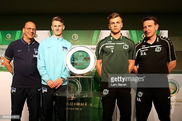 Hertha BSC U19 cead coach Andreas Thomas team captain of Hertha BSC U19 Damir Bektic and Hannover 96 U19 head coach Daniel Stendel and Hannover 96...