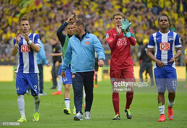 Hertha Team acknowledges the fans during the game between Borussia Dortmund and Hertha BSC on May 9 2015 in Dortmund Germany