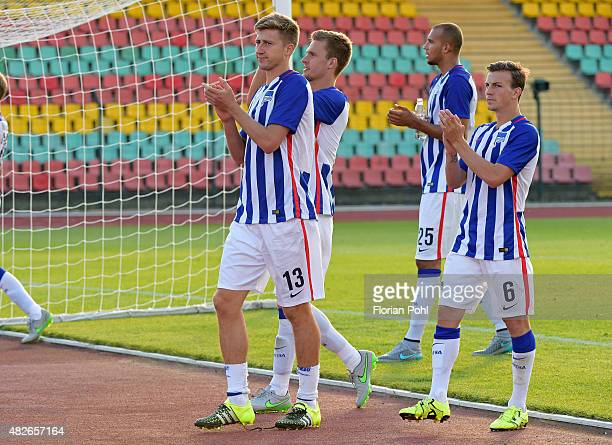 Hertha Team acknowledges the fans during the game between Hertha BSC and CFC Genua on august 1 2015 in Berlin Germany
