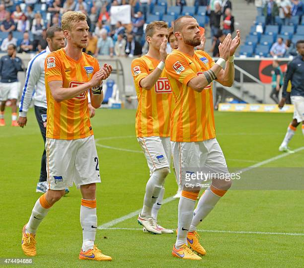Hertha Team acknowledges the fans during the game between TSG Hoffenheim and Hertha BSC on may 23 2015 in Sinsheim Germany