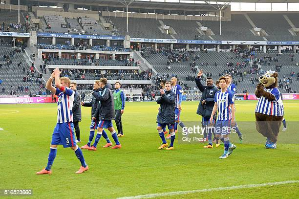 Hertha Team celebrates during the game between Hertha BSC and dem FC Ingolstadt on march 19 2016 in Berlin Germany