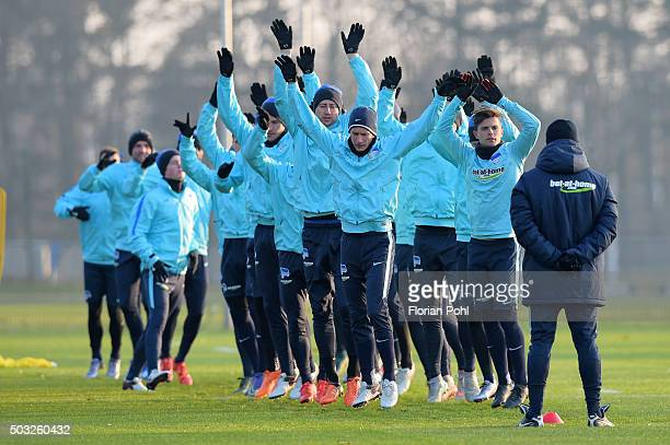 Hertha Team during the training of Hertha BSC on January 3 2016 in Berlin Germany